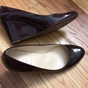 Jcrew patent wedge shoes 9.5